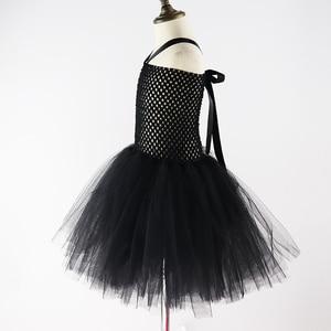 Image 3 - Комплект из 3 предметов, платье пачка с рожками и перьями для девочек, костюм ведьмы на Хэллоуин, вечерние платья для девочек, XX0