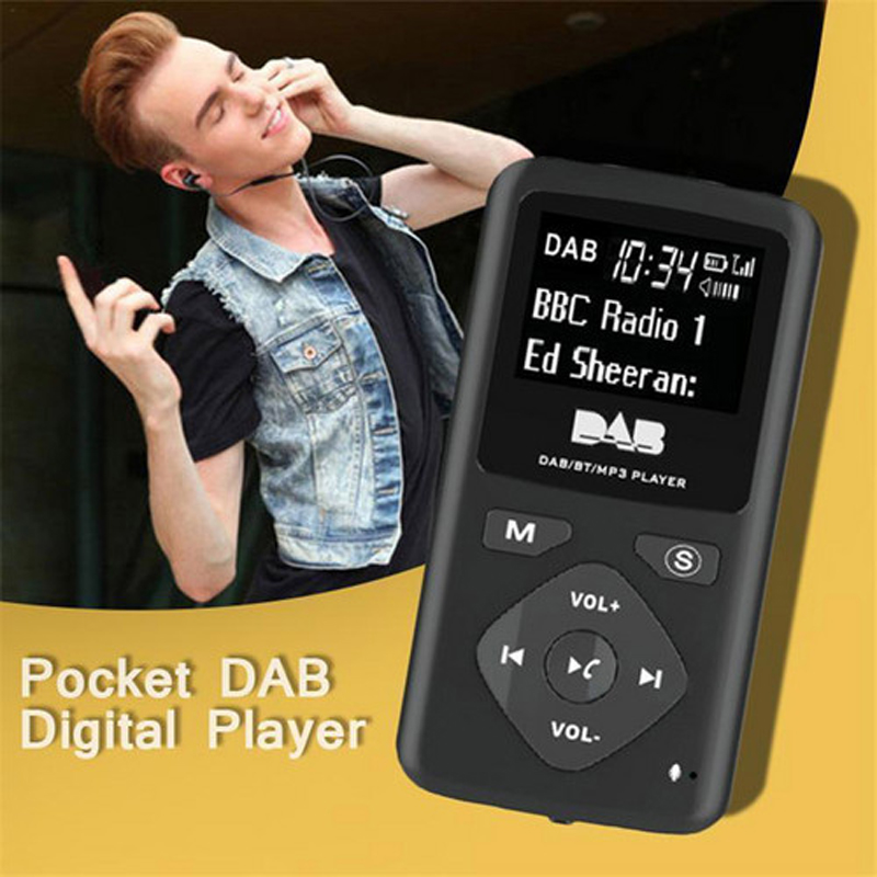 Portable DAB/DAB+ Pocket Digital Radio Receiver Bluetooth MP3 Player with Earphone Radio Receiver