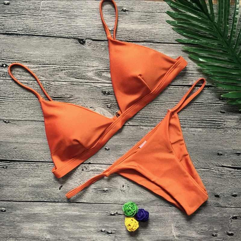 2020 Vrouwen Micro Bikini Set Push Up Badmode Solid Beach Badpak Braziliaanse String Badpak Voor Meisjes Bikini Zwemmen Pak femme