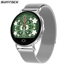 SUMTOCK IOS Android Samrt Watch Heart Rate Blood Pressure Calorie Sleep Check Stainless Steel Watch relog inteligente mujer(China)