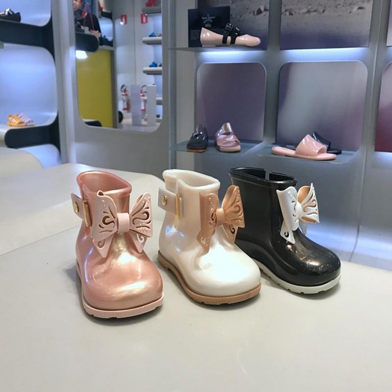 New Mini Melissa Girls Bowknot Rubber Rainboots Waterproof Children Rain Boots PVC Candy Princess Shoe Spring Winter SH19095