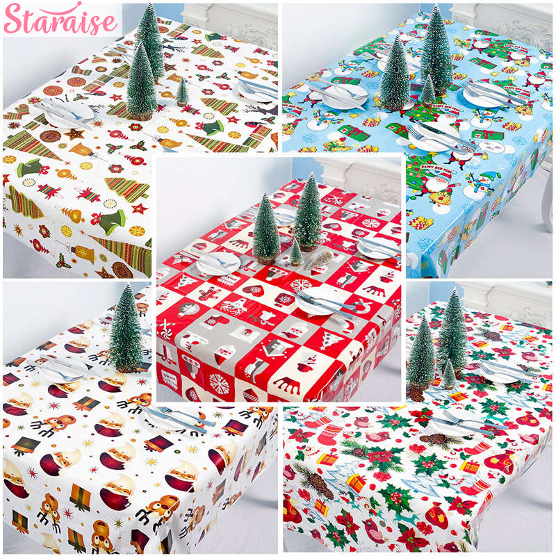 Xmas Maple Elk Santa Claus Disposable Party Tablecloth Christmas Tree Decorations For Home New Year 2019