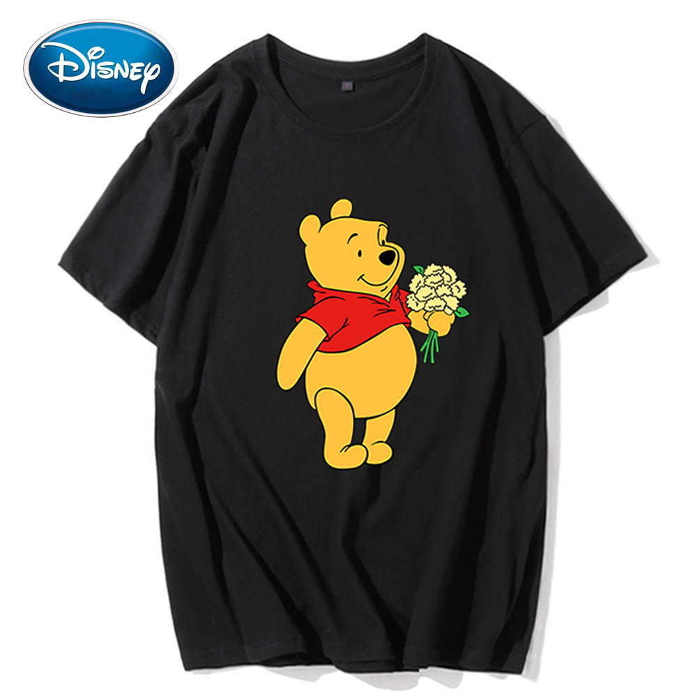 Disney Cute Winnie The Pooh Bear Floral Cartoon Print Couples Unisex Women T-Shirt O-Neck Pullover Short Sleeve Tee Tops 5 Color