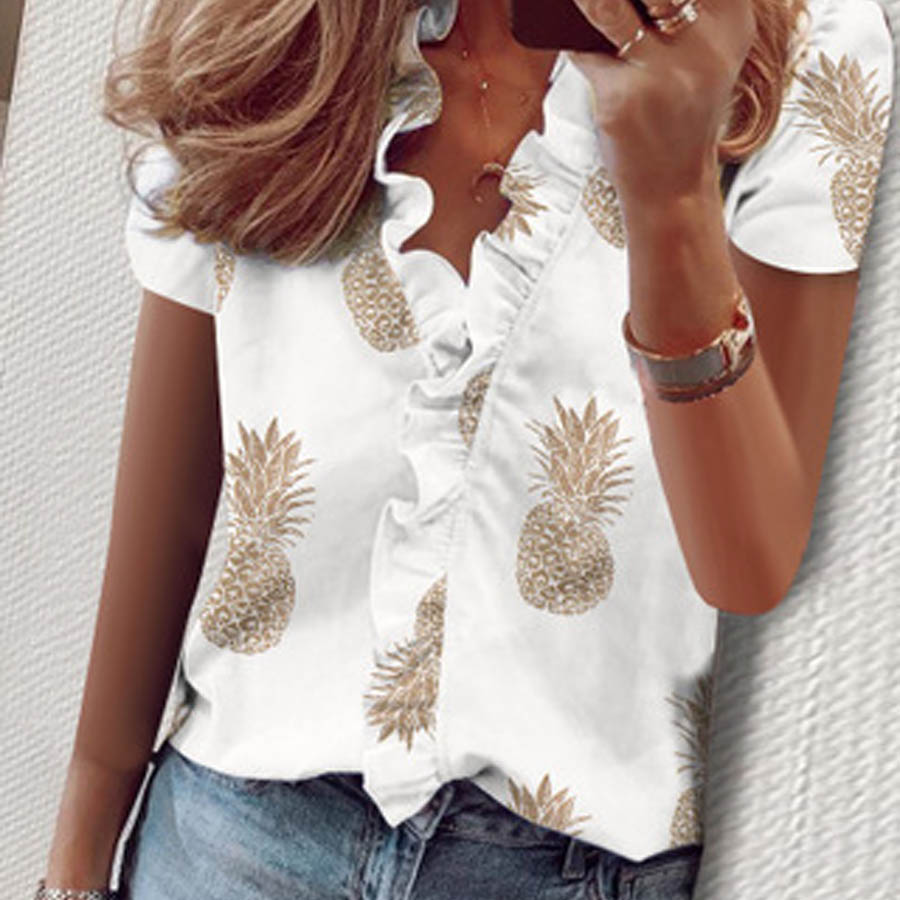 DIOROBBEN Summer elegant New Daisy Pineapple Print Ruffle blouse shirts home Office Lady Summer Short Sleeve Sexy womens tops 2