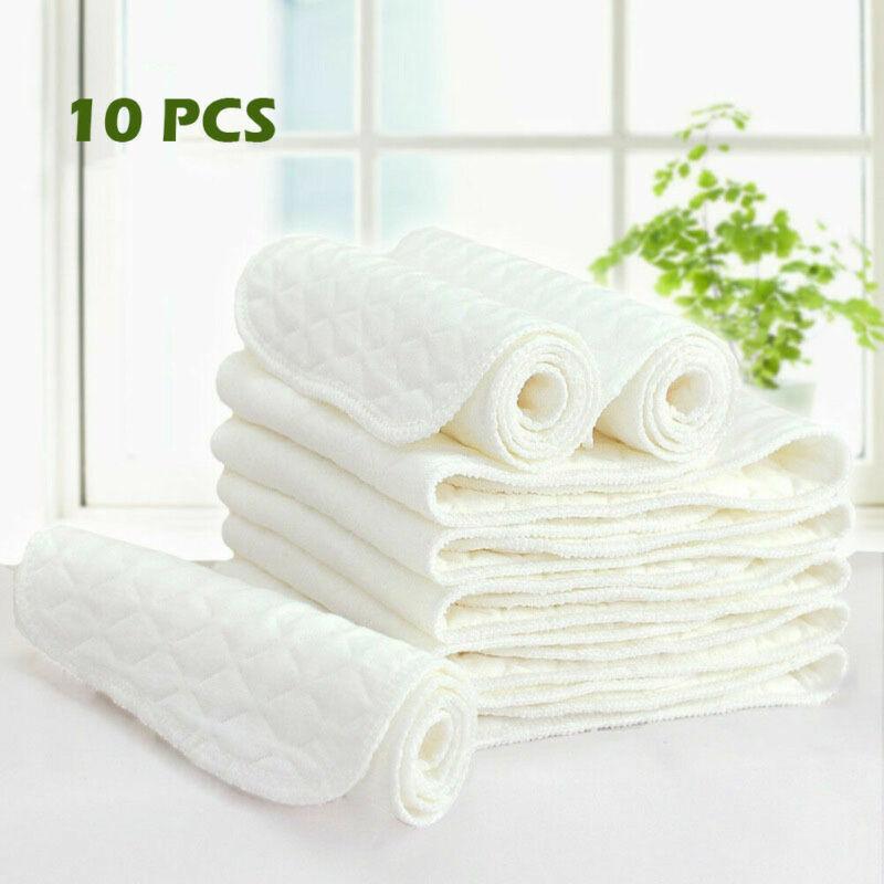 10 Pcs Reusable Baby Diaper Cotton Cloth Diapers Reusable Washable 100% Cotton Birdseye Fabric Breathable  Diapers