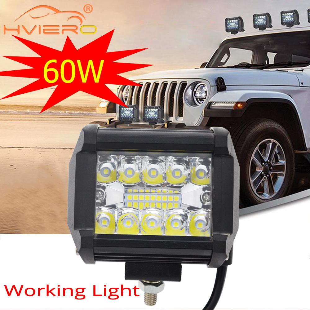 Auto Voiture LED 60W 6000K Barre Lumineuse de Travail de Lampe de Conduite Pour Offroad Tracteur de Bateau de Camion 4x4 SUV Brouillard Ampoule 12V 24V Phare Pour VTT Led