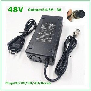 Image 1 - Cargador de batería de iones de litio de 48V, salida de 54,6 V, 3A para bicicleta eléctrica de 48V, paquete de batería de litio, conector hembra de 3 pines, GX16 XLR 3 Socket