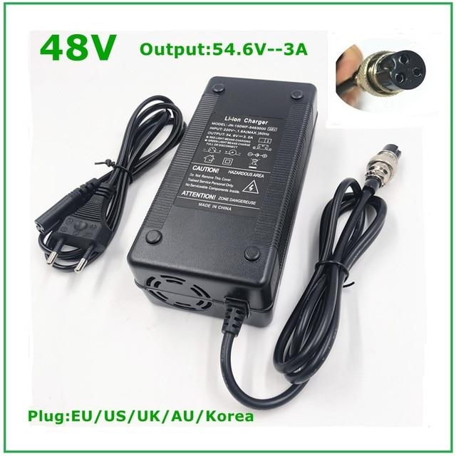 Cargador de batería de iones de litio de 48V, salida de 54,6 V, 3A para bicicleta eléctrica de 48V, paquete de batería de litio, conector hembra de 3 pines, GX16 XLR 3 Socket