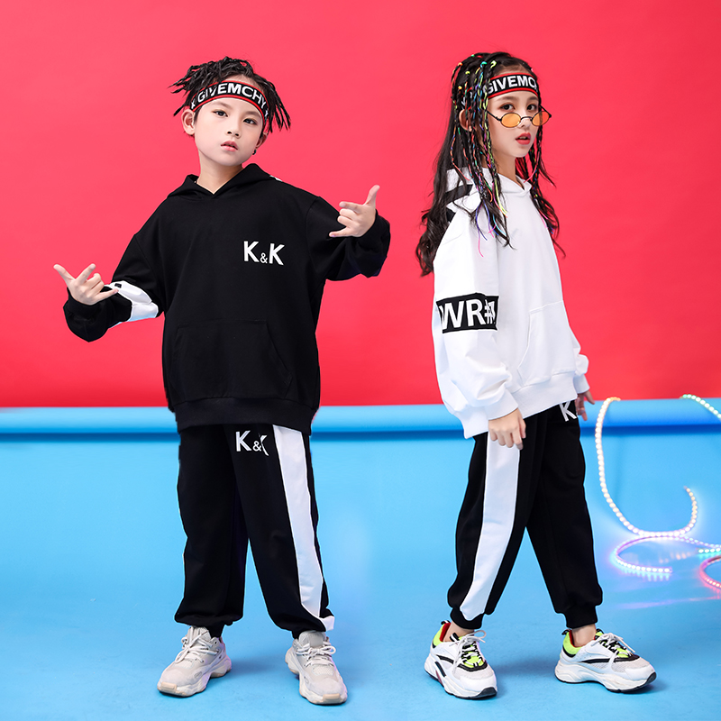 Kids Jazz Dance Costume Hiphop Rave Outfit Street Dance Stage Performance Clothing Children Hooded Practice Dancing Wear DC2751