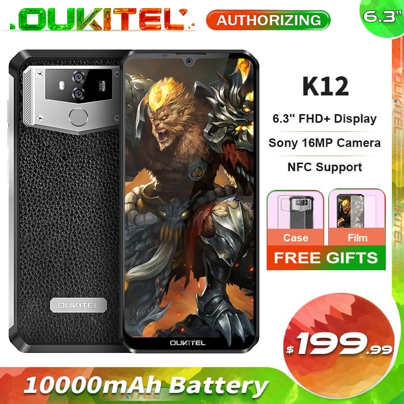 Смартфон OUKITEL K12, 6 ГБ ОЗУ 64 Гб ПЗУ, 10000 мАч, 6,3-дюймовый дисплей Waterdrop, сканер лица, быстрая зарядка 5 В/6 А, OTG NFC мобильный телефон
