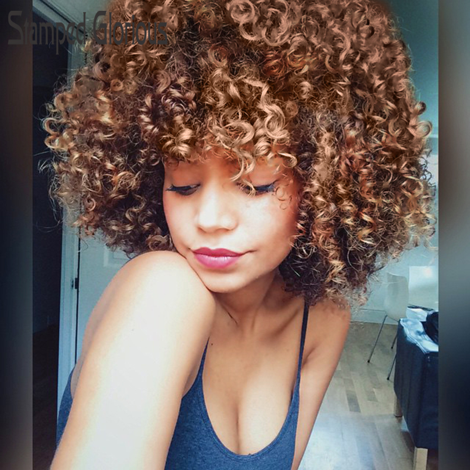 Stamped Glorious Afro Kinky Curly Wig  Blonde Wig With Bangs Synthetic Short Wigs For Black Women High Temperature Hair