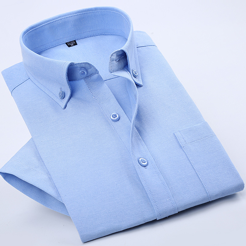 Oxford Square Summer Men's Solid Color Short-sleeved Shirt Entity Batch Thermal Middle-aged Short