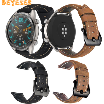 Genuine Leather band For Huawei GT bracelet For samsung Galaxy watch 46mm Gear S3 frontier strap 46 mm 22mm watch band fitting 22mm watch band leather strap for huawei gt2e watch strap for samsung galaxy watch 46mm watchband for samsung gear s3 frontier