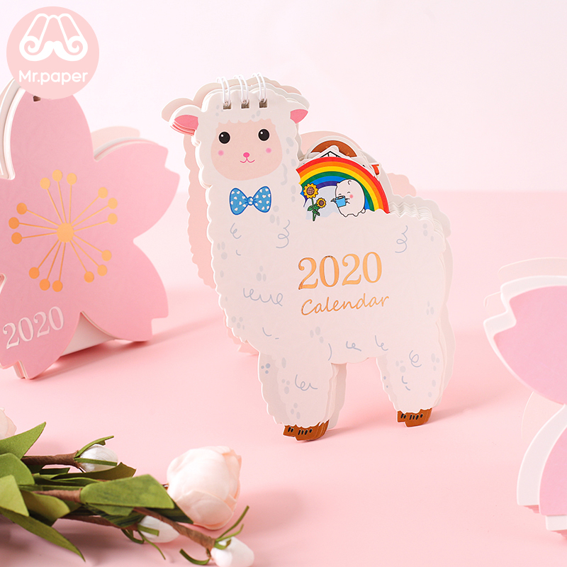 Mr Paper 2020 Unicorn Hamster Cherry Blossom Mini Desktop Paper Calendars Daily Scheduler Table Planner Yearly Agenda Calendars in Calendar from Office School Supplies
