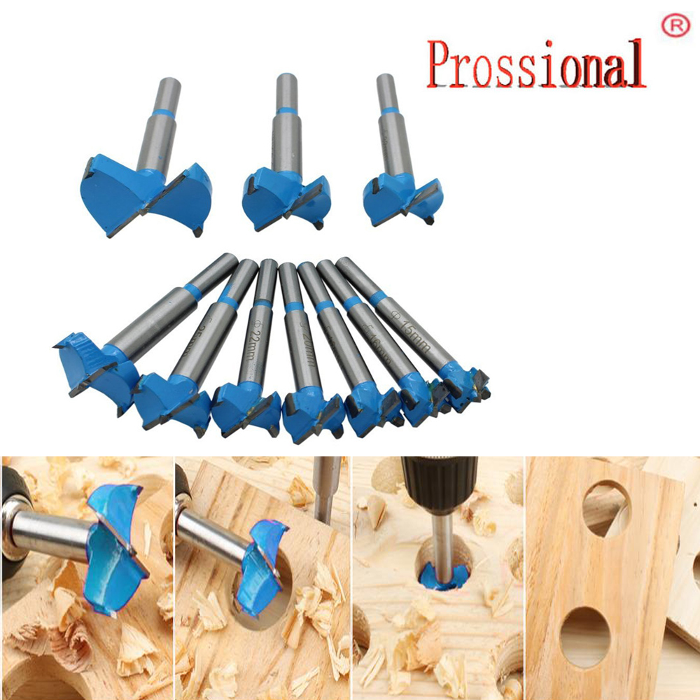 Professional 10pcs 15-50mm Carbide Woodworking Hole Saw Forstner Woodworking Hole Saw Cutter Drill Bits Boring Hole Opener