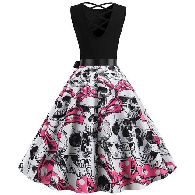 Robe Pin Up Vintage Dress Skull Print Halloween Dress Women Sleeveless 50s 60s Rockabilly Party Dresses Big Swing s