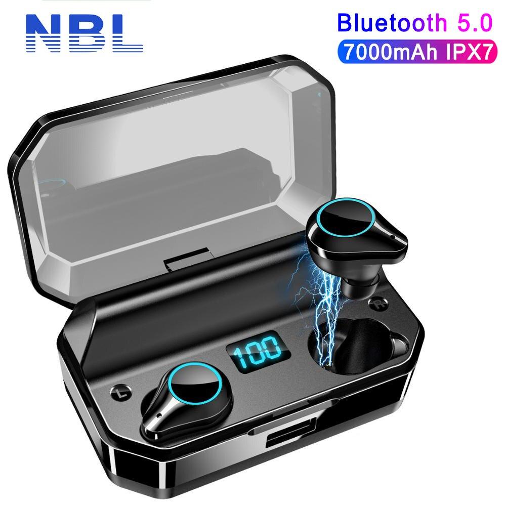 T9 TWS Earphones 9D Stereo Bluetooth 5.0 Wireless Earphones IPX7 Waterproof 7000mAh LED Smart Power Bank Phone Holder