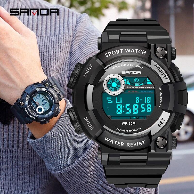 Sports Watch Digital Outdoor SANDA Multifunction Waterproof Men Casual New-Fashion LED