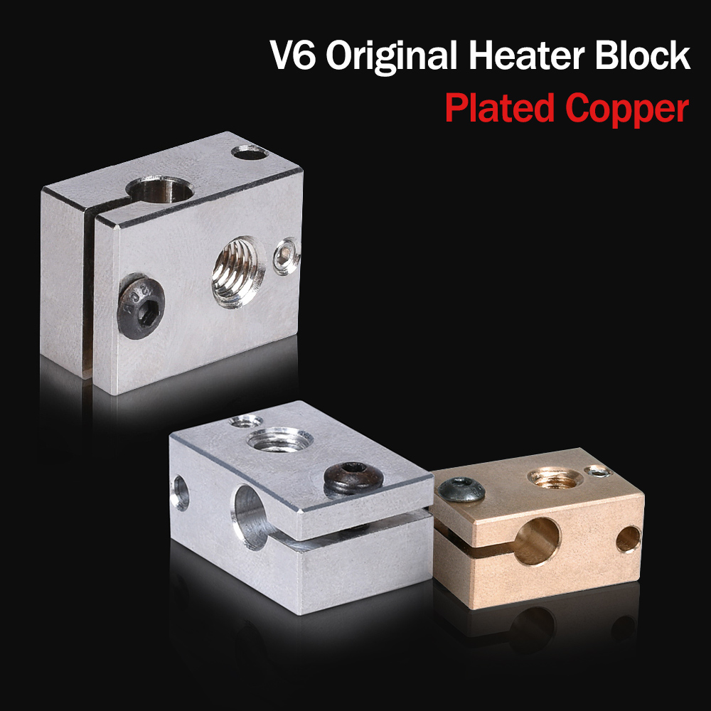 High Quality V6 Plated Copper Heat Block PT100 V6 Brass For E3d V6 Hotend 3D Printer Heated Block For J-head BMG Extruder Titan