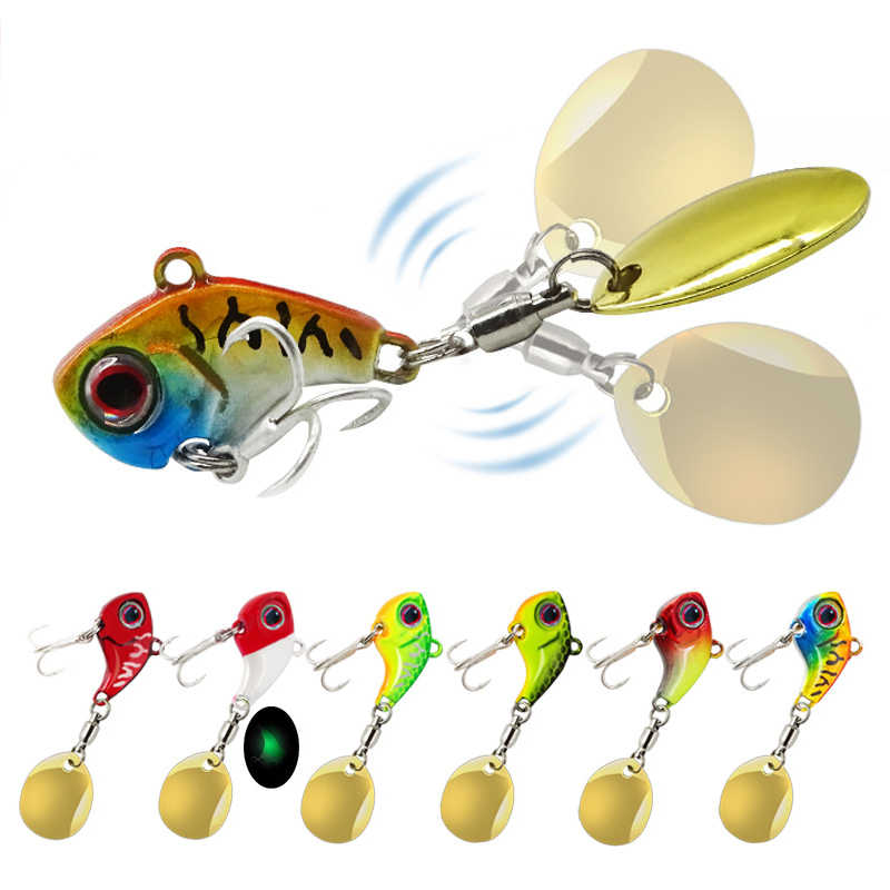 2019 nuevo señuelo de metal VIb cuchara duro pequeño 2,3/2,5/2,8/3,5 cm vibrante giratorio lentejuelas pesca mar hundimiento Bass Fresh Saltwat