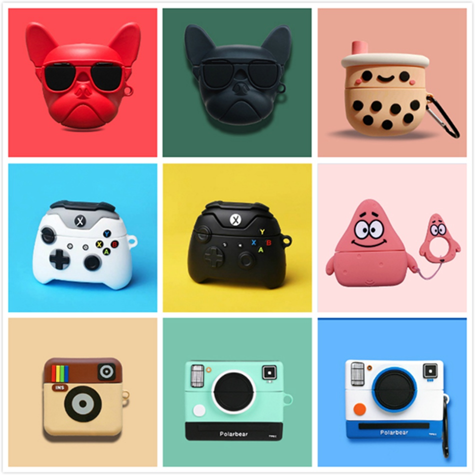 Earphone Case For Airpods Pro Case Silicone Cartoon Cute Duck Stitch Camera Earpods Cover For Apple Airpods Pro 3 Cases Keychain