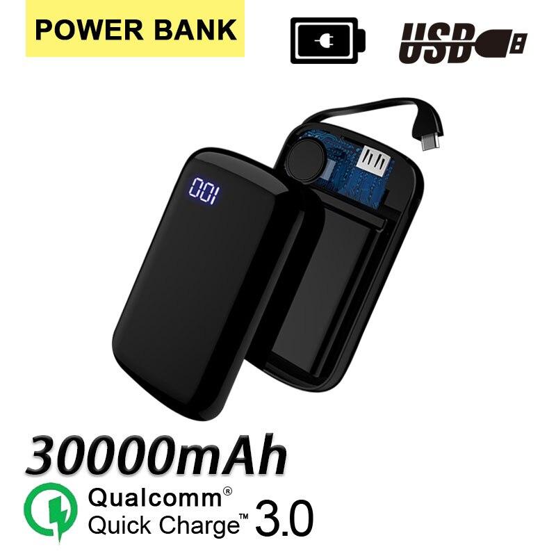 30000 мАч Мини ЖК-дисплей цифровой дисплей банк питания для Smartpone Pover Банк зарядное устройство Портативный двойной Usb порты внешний аккумулято...