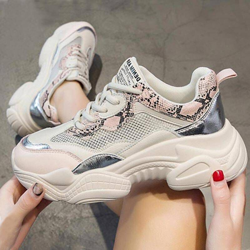 New 2020 Fashion Clunky Sneakers Women Shoes Thick Sole Casual Women Mesh Shoes Young Laides Sneakers YX2122