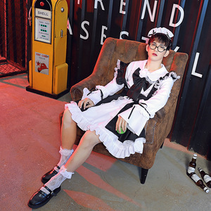 Kodona Maid Cosplay Costume Lolita Lace Dress Ouji Clothing Black Gothic Carnival Halloween Outfit For Men Women Black White