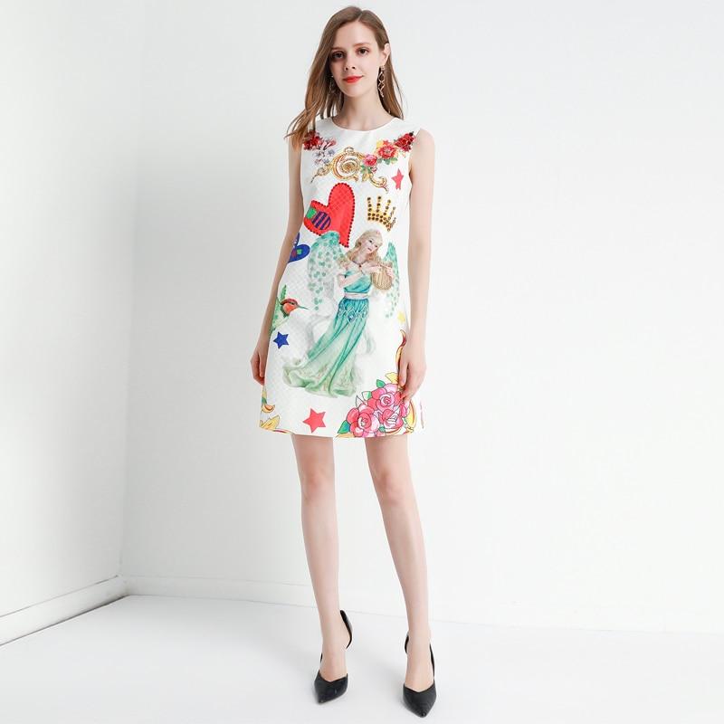 Xiaomoli belle ange imprimer clou perceuse Sequin sans manches Vintage débardeur jupe robe de fond nouveau automne 2019