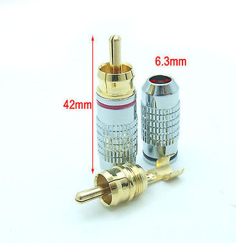 DHL/EMS  100PCS High quality Metal 24K RCA Plug Audio Video Soldering Cable Connector-A8