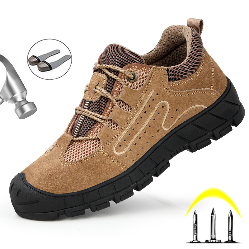 Breathable Safety Shoes Men Steel Toe Shoes Puncture Proof Work Safety Boots Men Work Shoes Wear resistant Hiking Work Sneakers|Work & Safety Boots|   - AliExpress