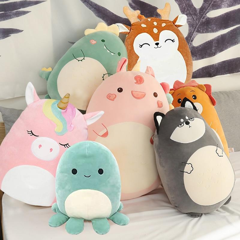 Squishmallow pluszowe zabawki zwierząt lalki Kawaii jednorożec dinozaur lew miękkie poduszki Buddy nadziewane poduszki walentynki prezent dla dzieci dziewczyna