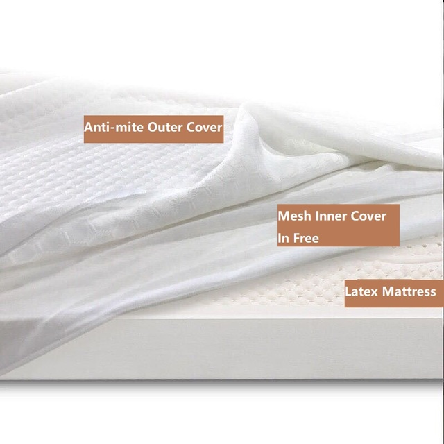 USA~New Natural Latex Tatami Latex Mattress Topper for Queen Twin Bed White