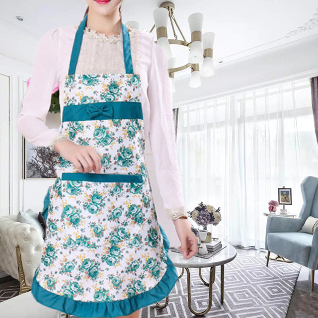 Oil-proof Cooking Apron For Women Adjustable Kitchen Cooking Coffee Shop Flower Printed Bowknot Cleaning Aprons With Pocket 4