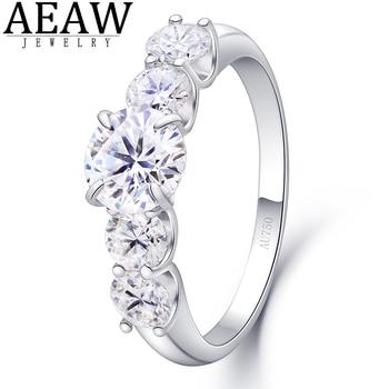 2.2 quilates 6.5mm d cor vvs1 redondo excelente corte moissanite casamento anel de noivado sólido 18 k ouro branco anel fino para senhora 1