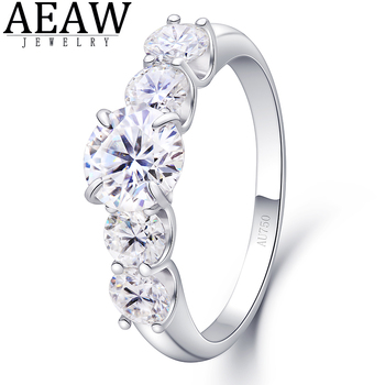 2.2Carats 6.5mm D Color VVS1 Round Excellent Cut Moissanite Wedding Engagement Ring Solid 18K White Gold Fine Ring for Lady