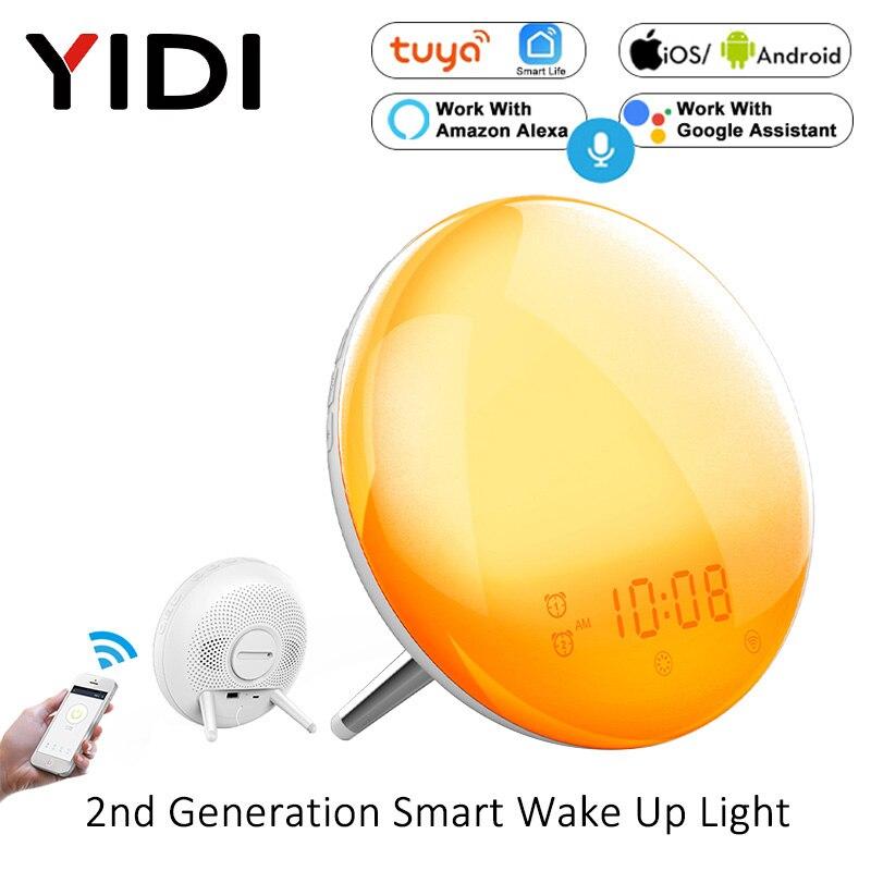 WiFi Smart Wake Up Light Alarm Clock Wireless Remote Control Tuya Sunrise Sunset Simulation 4 Alarm Clock Alexa Google Home