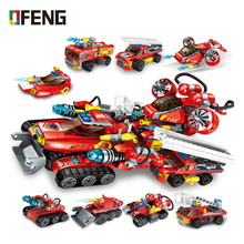 Enlighten Building Block City Fire Rescue 8 in 1 Chariot Savior FV Transform Educational Bricks Toy Boy Gift
