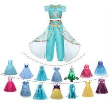 Meninas princesa jasmim vestido crianças cosplay traje vestido halloween carnaval cosplay fantasiar-se crianças fantasia vestido de páscoa