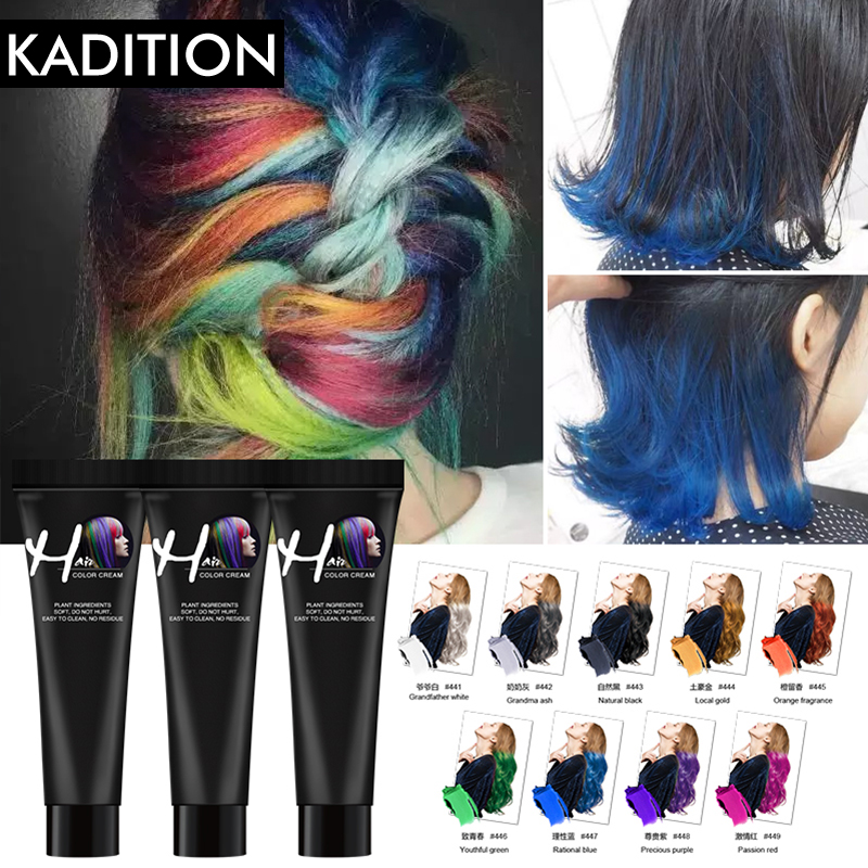 Hair Color Dye Girls Beauty Hair 9 Colors Hair Color Hair Dye Non-toxic DIY Hair Color Dye Cream Blue Grey Purple Hair Dye