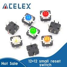 Interrupteur à bouton-poussoir Tactile momentané, 5 couleurs, 12x12x7.3mm, 12v dc 50ma, 1 lot de 5 pièces
