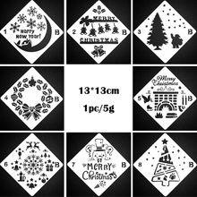 1PC Christmas Painting Template Diy Album Painting Template Scrapbooking  Decorative Bullet Journal Stencils Reusable 13cm B merry christmas trees sticker painting stencils for diy scrapbooking stamps home decor paper card template decoration album