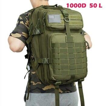 Lawaia ทหาร Rucksacks 6 สี 50L/1000D ไนลอนกันน้ำกระเป๋าเป้สะพายหลังยุทธวิธีกลางแจ้งกีฬาตั้งแคมป์เดินป่าตกป...