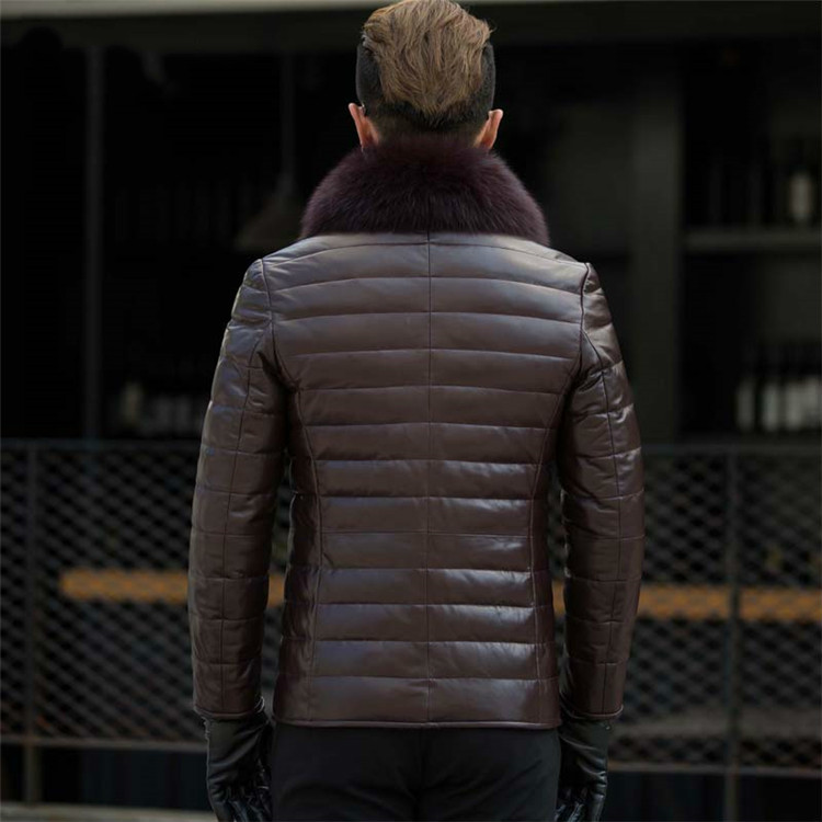 Leather Genuine Jacket Men Fox Fur Collar Men's Winter Down Jackets Korean Slim Coat Man Jaqueta Couro Masculina KJ650 's S