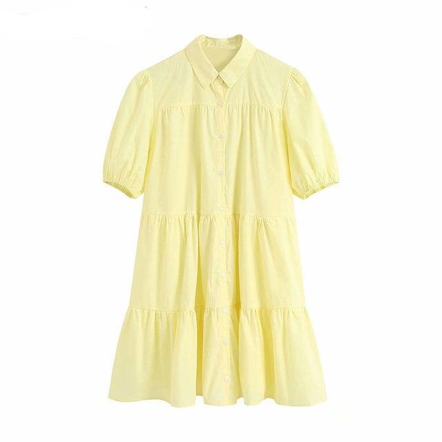 High Quality Women 2020 Sweet Fashion Ruffled White Mini Dress Vintage Lapel Collar Puff Sleeve Female Dresses Chic Vestidos 5