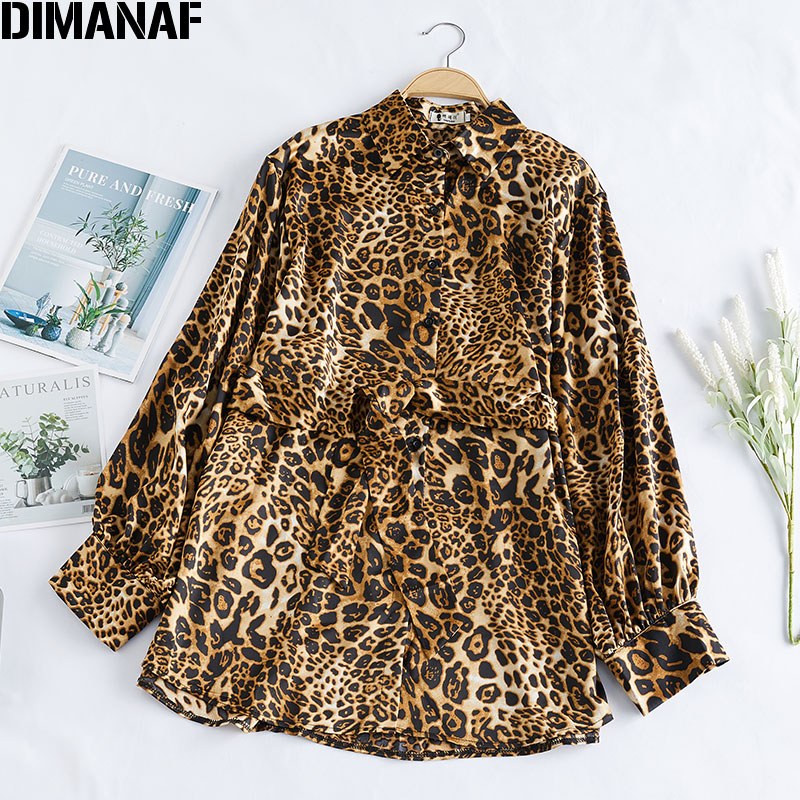DIMANAF Plus Size Women Blouse Shirt Lady Tops Tunic Chiffon Button Casual Loose Print Leopard Spring Summer Long Sleeve Clothes