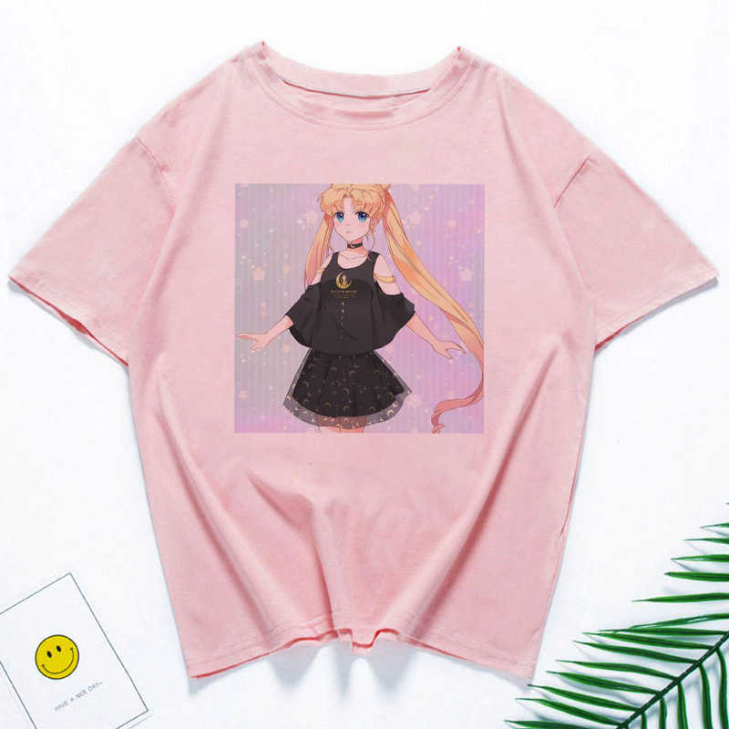 Sailor Moon футболка Pink Tshirt Gothic T-shirt Woman Harajuku Kawaii Clothes Vintage T Shirt Women Clothes Shirts Women 2019