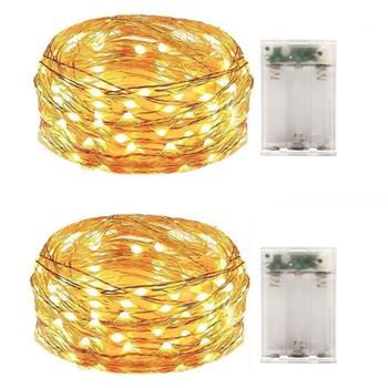 2 Pack Battery Operated Led String Lights,Indoor Mini Christmas Fairy Lights,Holiday Party Decoration,50 Leds,5M Silver Wire