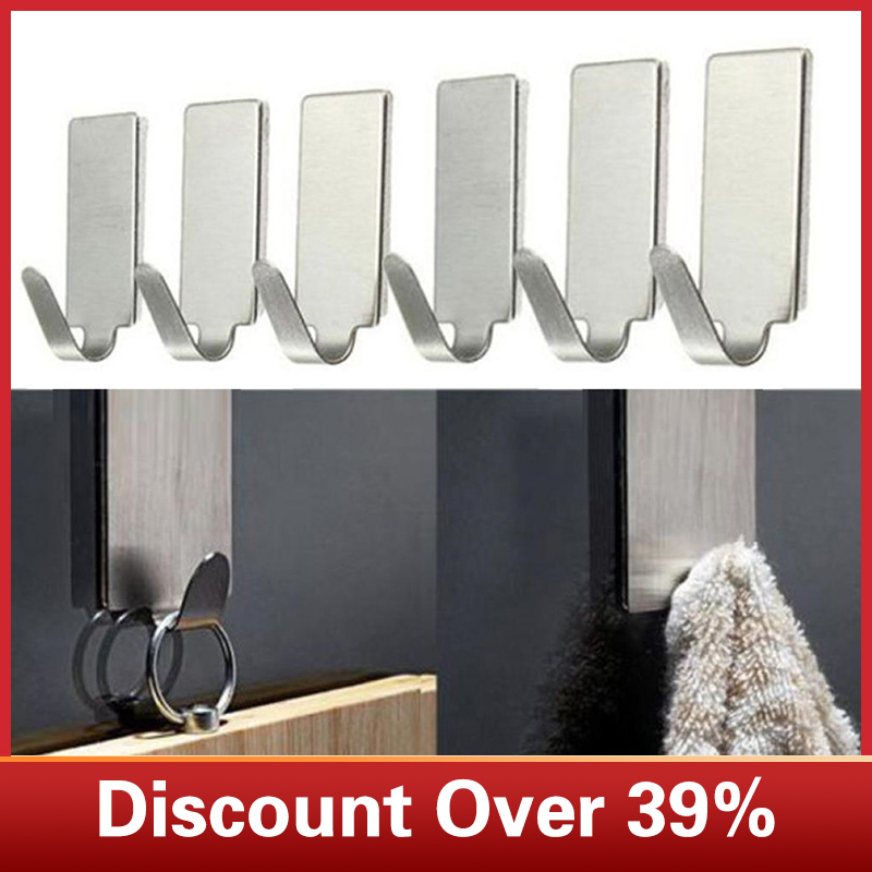 6PCS Strong Adhesive Kitchen Wall Door Stainless Steel Stick Holder Hook Hanger