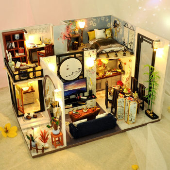 CUTEBEE Kids Toys Dollhouse with Furniture Assemble Wooden Miniature Doll House Diy Dollhouse Puzzle Toys For Children TD18 sylvanian families house diy dollhouse blue times handmade house wooden toys dolls house furniture kids toys juguetes brinquedos